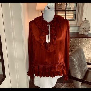 Ulla Johnson Dark Red Silk Top